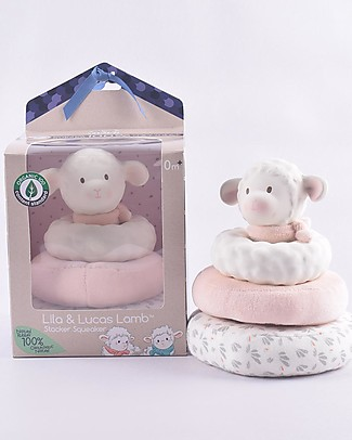 Tikiri Stacker Squeaker Lamb Lila, Pink - Natural Rubber and Organic Cotton Puppets