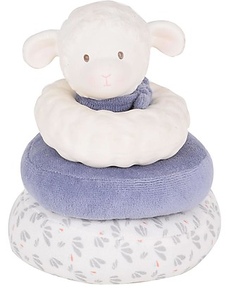 Tikiri Stacker Squeaker Lamb Lucas, Blue - Natural Rubber and Organic Cotton Puppets