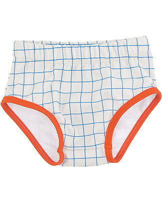 Tiny Cottons Baby Swim Bloomer, Grid - Cerulean Blue Swimming Trunks