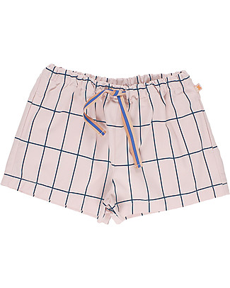Tiny Cottons Big Grid Short, Pale Pink/Navy - Elasticated Pima Cotton Shorts