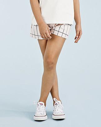 Tiny Cottons Big Grid Short, Pale Pink/Navy - Elasticated Pima Cotton Shorts