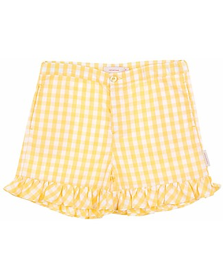 Tiny Cottons Check Short – Cotton and Linen - Frills on Bottom Shorts