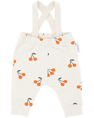 "Tiny Cottons Fleece Braces Pant ""Cherries"" - PIMA Cotton Dungarees"
