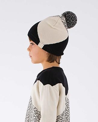 Tiny Cottons Geometric Beanie, Beige+Black - Cotton and Merino Wool Winter Hats
