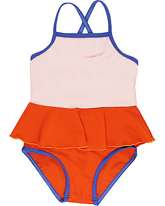Tiny Cottons Girl's Frill Swimsuit, Colour Blocks Red/Pink Swimsuits