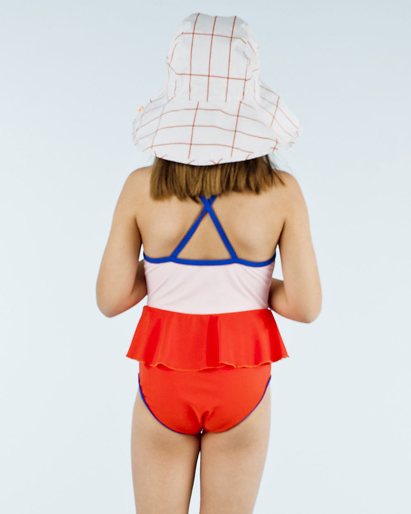 e79eb42d10c Tiny Cottons Girl's Frill Swimsuit, Colour Blocks Red/Pink Swimsuits