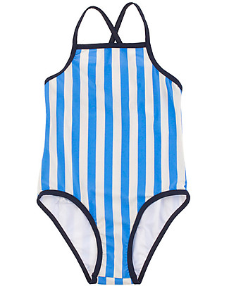 Tiny Cottons Girl's Frill Swimsuit, Stripes, Cerulean Blue Swimsuits
