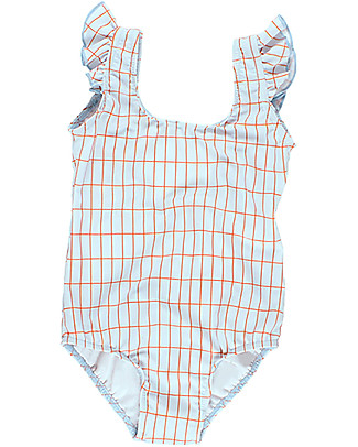 Tiny Cottons Girl's Grid Swimsuit, Pale Blue/Red Swimsuits