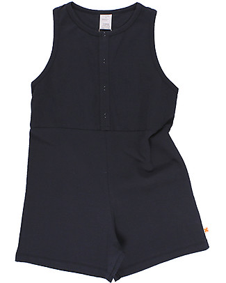 "Tiny Cottons Girl's Onepiece: ""Lui C'est Moujik"" - Navy Blue, Pima Cotton Short Rompers"