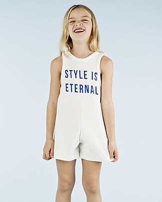 Tiny Cottons Girl's Onepiece: Style is Eternal, White Cotton towel Short Rompers