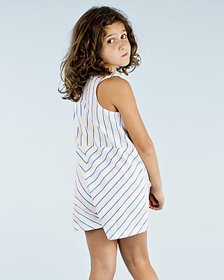 Tiny Cottons Girl's Sleeveless Onepiece, Pink/Blue Stripes - 100% Cotton Short Rompers