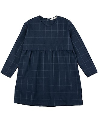 Tiny Cottons Grid Flannel Dress, Navy Dresses