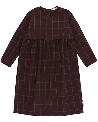 Tiny Cottons Grid Flannel Dress, Plum Dresses