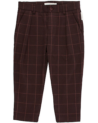 Tiny Cottons Grid Flannel Pleated Pants, Plum Trousers