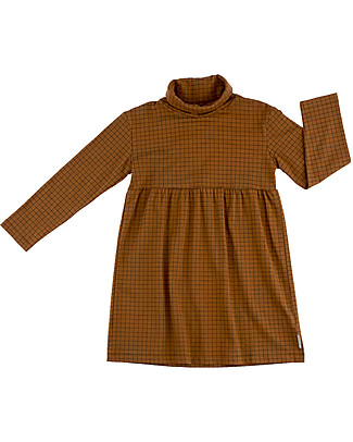 Tiny Cottons Grid Long Sleeved Dress, Brown+Black - Pima Cotton Dresses