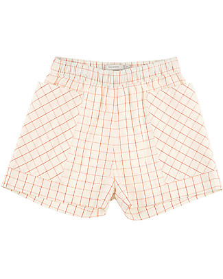 Tiny Cottons Grid Short – 100% Cotton - Front Patch Pockets Shorts