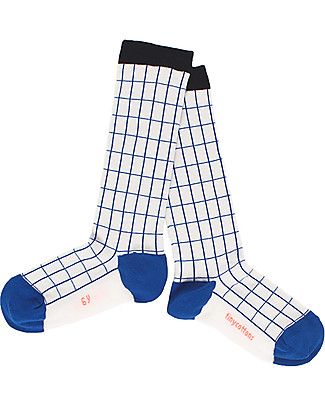 Tiny Cottons Grid Socks, Off White/Blue - Knee lenght Socks