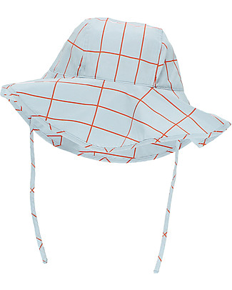 Tiny Cottons Grid Sun Hat, Light Blue/Orange - Pima Cotton Hats