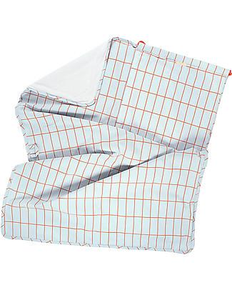 Tiny Cottons Grid Towel + Bag Set, Red/Pale Blue - Pima cotton Large Backpacks