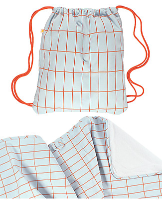 Tiny Cottons Grid Towel + Bag Set, Red/Pale Blue - Pima cotton Large Backpacks