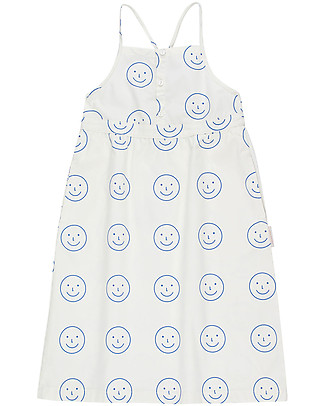 Tiny Cottons Happy Face, Cross Back Dress -  100% Cotton Dresses