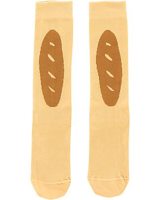 "Tiny Cottons High  Socks  ""Baguette"", Eggnog/Mustard - Cotton Socks"