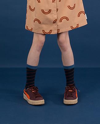 Tiny Cottons High Socks Diagonal Stripes, Navy/light  navy - Cotton Socks