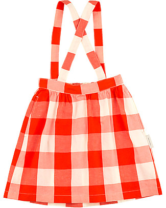 Tiny Cottons Hotel Bonheur, Huge Check Braces Skirt, Carmin - Cotton and Linen Skirts