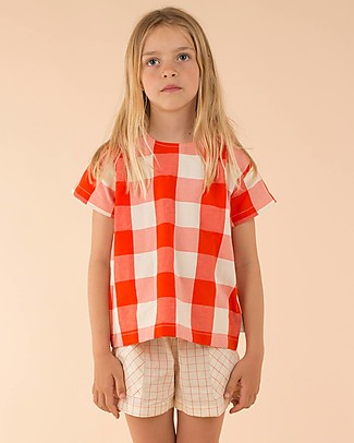 Tiny Cottons Hotel Bonheur,Huge Check Shirt, Carmin/Stone – Cotton and Linen T-Shirts And Vests