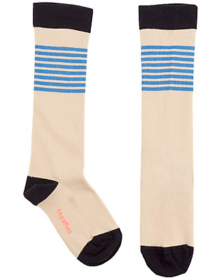 Tiny Cottons Lines High Socks, Off White/Cerulean Blue Socks