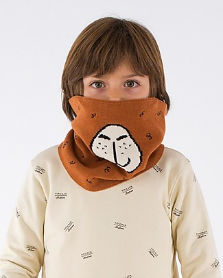 Tiny Cottons Llama Buff, Brown/Black - Cotton and Merino Wool Scarves And Shawls