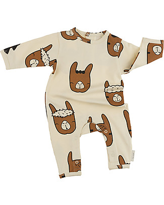 Tiny Cottons Llama Heads Onepiece, Beige+Brown - Pima Cotton Rompers
