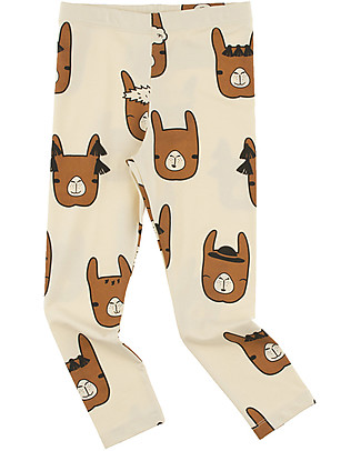 Tiny Cottons Llama Heads Pants, Beige+Brown - Pima Cotton Trousers