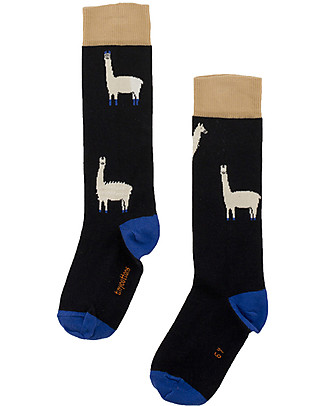 Tiny Cottons Llamas Hairy High Socks, Dark Navy + Beige Socks