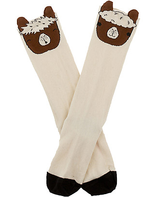 Tiny Cottons Llamas Heads High Socks, Beige + Brown - Two slightly different designs! Socks