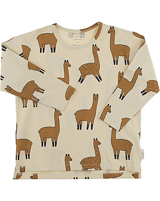 Tiny Cottons Llamas Long Sleeved Relaxed Tee, Beige+Nude - Pima Cotton Long Sleeves Tops