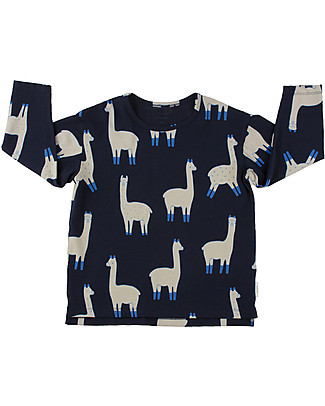 Tiny Cottons Llamas Long Sleeved Relaxed Tee, Dark Navy+Beige - Pima Cotton T-Shirts And Vests