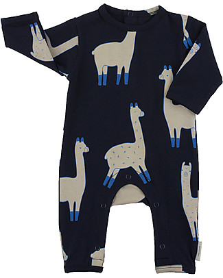 Tiny Cottons Llamas Onepiece, Dark Navy+Beige - Pima Cotton Rompers