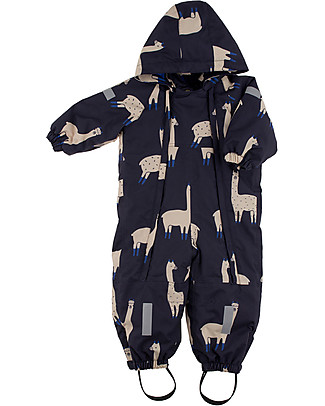 Tiny Cottons Llamas Snow Onepiece, Dark Navy+Beige - Warm and safe! Snowsuits