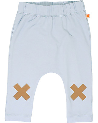 Tiny Cottons Logo Pant, Light Blue - Pima Cotton Trousers