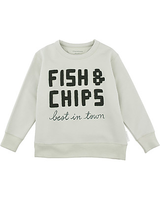 "Tiny Cottons Long Sleeves Towel Sweatshirt  ""Fish and Chips"" - 100% cotone PIMA Sweatshirts"
