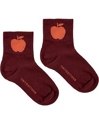 Tiny Cottons Mid Calf Socks Apples, Aubergine/Red - Elasticated Cotton Socks