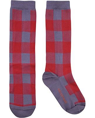 Tiny Cottons Over the Calf Socks Check, Dark Lilac/Burgundy - Elasticated Cotton Socks