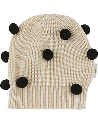 Tiny Cottons Pom Poms Beanie, Beige+Black - Cotton and Merino Wool Winter Hats