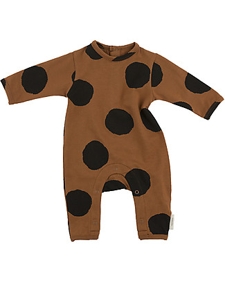 Tiny Cottons Pom Poms Onepiece, Brown+Black - Pima Cotton Rompers