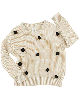 Tiny Cottons Pom Poms Oversized Knit Sweater, Beige+Black - Cotton and Merino wool Jumpers
