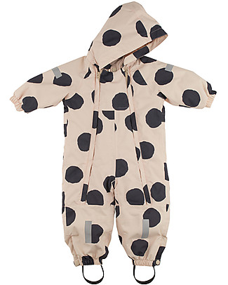 Tiny Cottons Pom Poms Snow Onepiece , Beige+Black - Warm and safe! Snowsuits