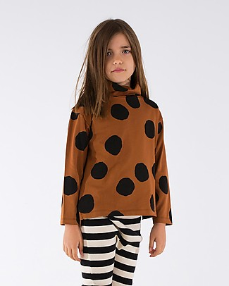 Tiny Cottons Pom Poms Turtle Neck Tee, Brown+Black - Pima Cotton  Long Sleeves Tops