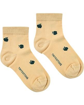 Tiny Cottons Quarter Socks Apples, Sand/Bottle Green - Elasticated Cotton Socks