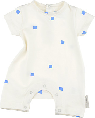 Tiny Cottons Short Sleeves Squares Dots Bodysuit - Elasticated Pima Cotton Short Rompers